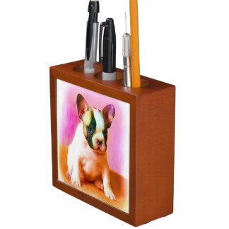 French Bulldog Art Pencil Holder