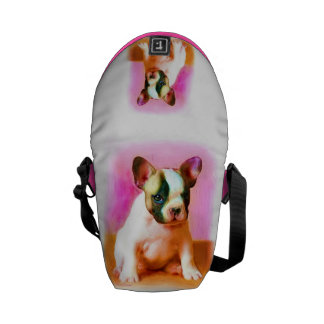 French bulldog art small Rickshaw messenger bag