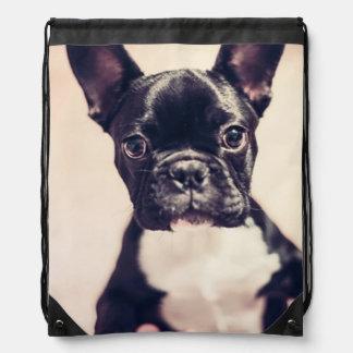 French Bulldog Drawstring Backpacks