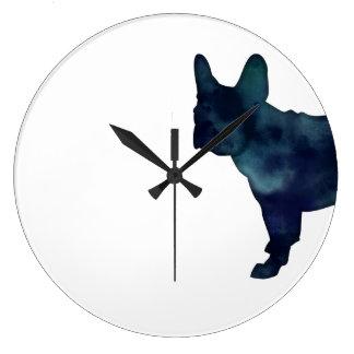 French Bulldog Black Watercolor Silhouette Large Clock