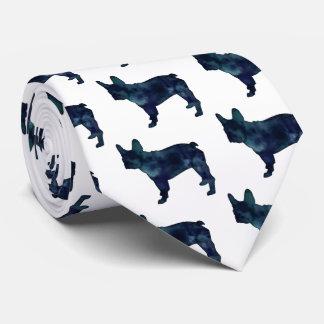 French Bulldog Black Watercolor Silhouette Tie