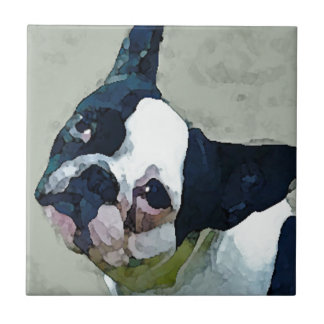 French Bulldog Black/White Ceramic Tile
