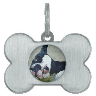 French Bulldog Black/White Pet Name Tag