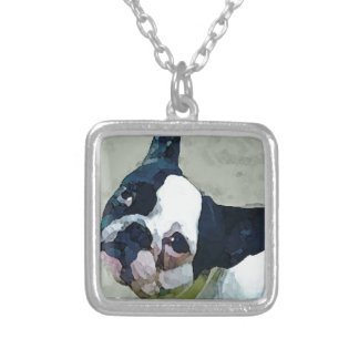 French Bulldog Black/White Silver Plated Necklace