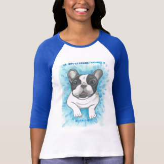 French Bulldog blue raglan shirt