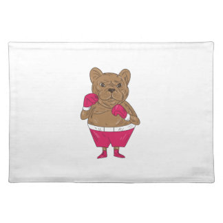 French Bulldog Boxer Boxing Stance Cartoon Placemat