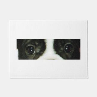 french bulldog brindle and white eyes doormat