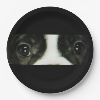 french bulldog brindle and white eyes paper plate
