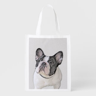 French Bulldog (Brindle Pied) Painting - Dog Art Reusable Grocery Bag