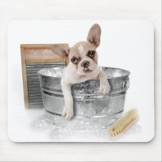 French Bulldog Brown & White Puppy Dog Taking Bath Mouse Pad