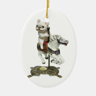 French Bulldog Carousel Ceramic Ornament