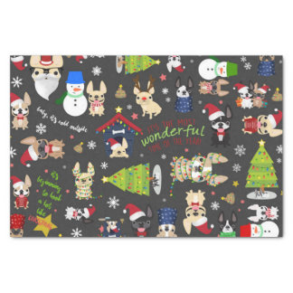 French Bulldog Christmas Holiday Tissue Paper