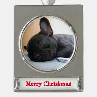 French Bulldog Christmas Ornament Silver Plated