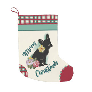 French Bulldog Christmas Stocking red turquoise
