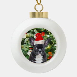 French Bulldog Christmas Tree Snowman Ceramic Ball Decoration