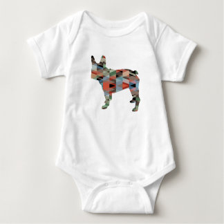 French Bulldog colorful Geometric Silhouette Baby Bodysuit