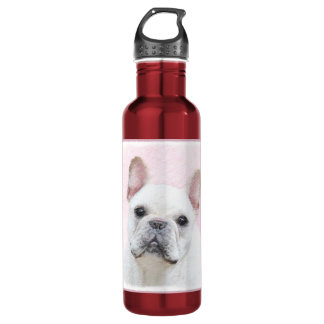 French Bulldog (Cream/White) Painting - Dog Art 710 Ml Water Bottle