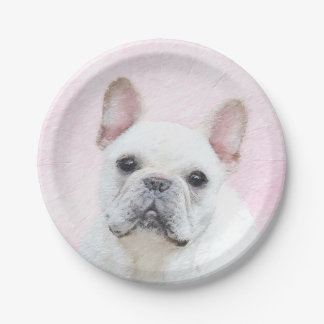 French Bulldog (Cream/White) Painting - Dog Art Paper Plate