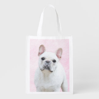 French Bulldog (Cream/White) Painting - Dog Art Reusable Grocery Bag