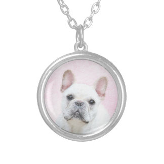 French Bulldog (Cream/White) Silver Plated Necklace