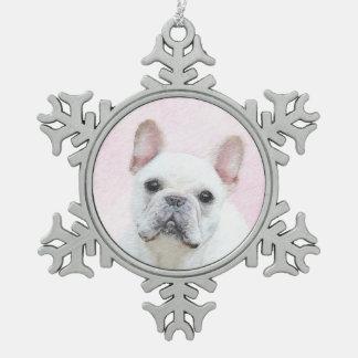 French Bulldog (Cream/White) Snowflake Pewter Christmas Ornament