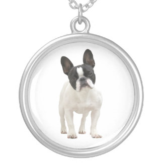 French bulldog cute photo necklace,  gift idea silver plated necklace