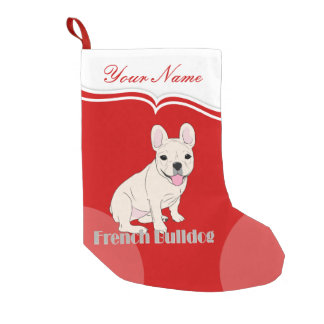 French Bulldog Cute White Cream Frenchie Small Christmas Stocking