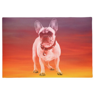 French Bulldog Dog Sitting On Beach Doormat