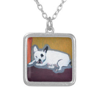 French Bulldog Fauve Painting Square Pendant Necklace