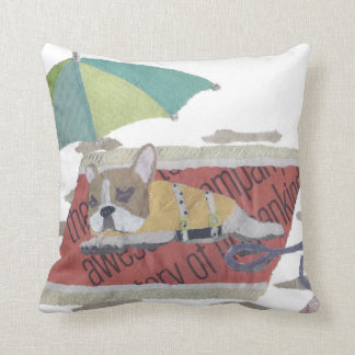 French Bulldog, Fawn Pie Frenchie, Colorful, Beach Cushion