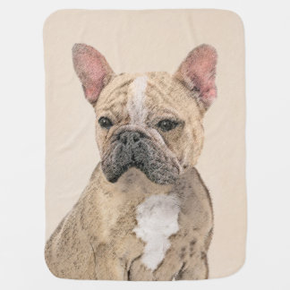 French Bulldog (Fawn Pied) Painting - Dog Art Baby Blanket