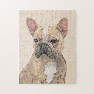 French Bulldog (Fawn Pied) Painting - Dog Art Jigsaw Puzzle