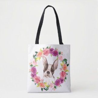 French Bulldog, Floral Wreath Tote Bag