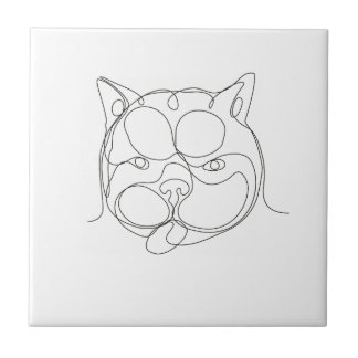 French Bulldog Head Continuous Line Tile