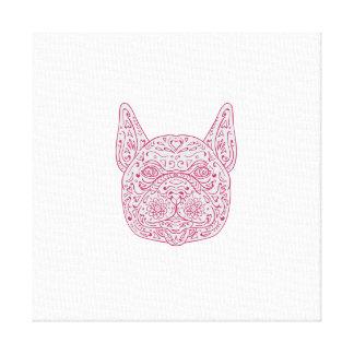 French Bulldog Head Front Mandala Canvas Print