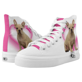 French Bulldog Heart high top tennis shoes Printed Shoes