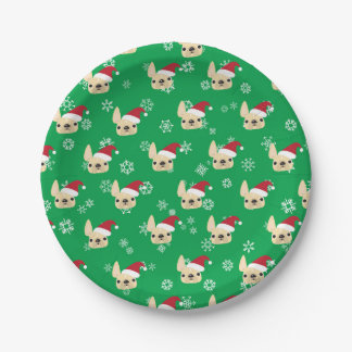 French Bulldog Holiday Paper Plates 7 Inch Paper Plate