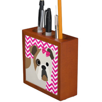 French Bulldog Hot Pink and White Chevron Pattern Pencil/Pen Holder