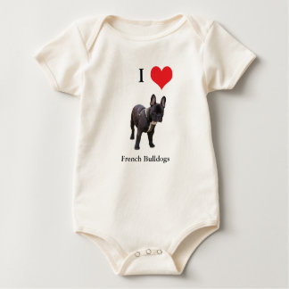 French Bulldog I love heart infant creeper, Baby Bodysuit