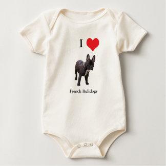 French Bulldog I love heart infant creeper, Rompers