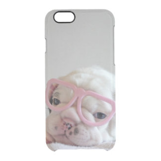 French Bulldog in Heart Glasses Clear iPhone 6/6S Case