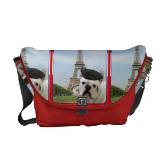 French bulldog in Paris Courier Bags