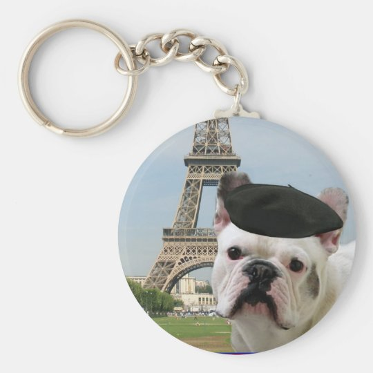 French Bulldog in Paris keychain