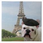French bulldog in Paris Tiles