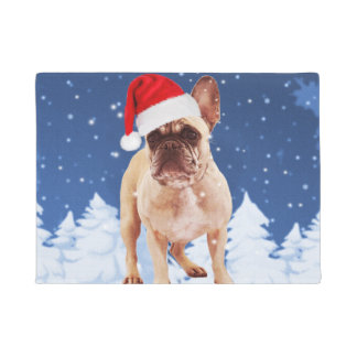 French Bulldog in Snow Christmas w Santa Hat Doormat