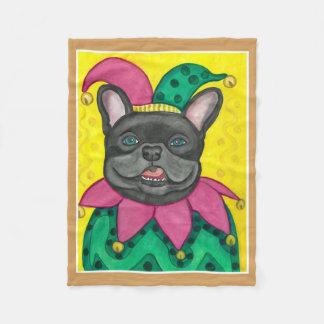 French Bulldog jester fleece baby blanket