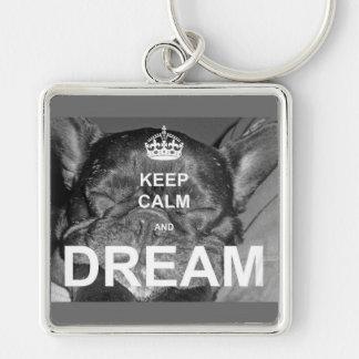 French Bulldog Keep Calm Dream Silver-Colored Square Key Ring