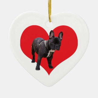 French Bulldog love heart ornament, gift idea Ceramic Ornament