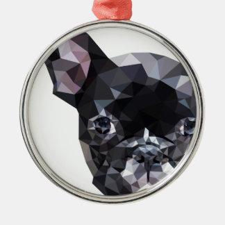 French Bulldog Low Poly Art Metal Ornament