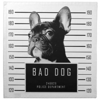 French Bulldog Mugshot Shirt Napkin